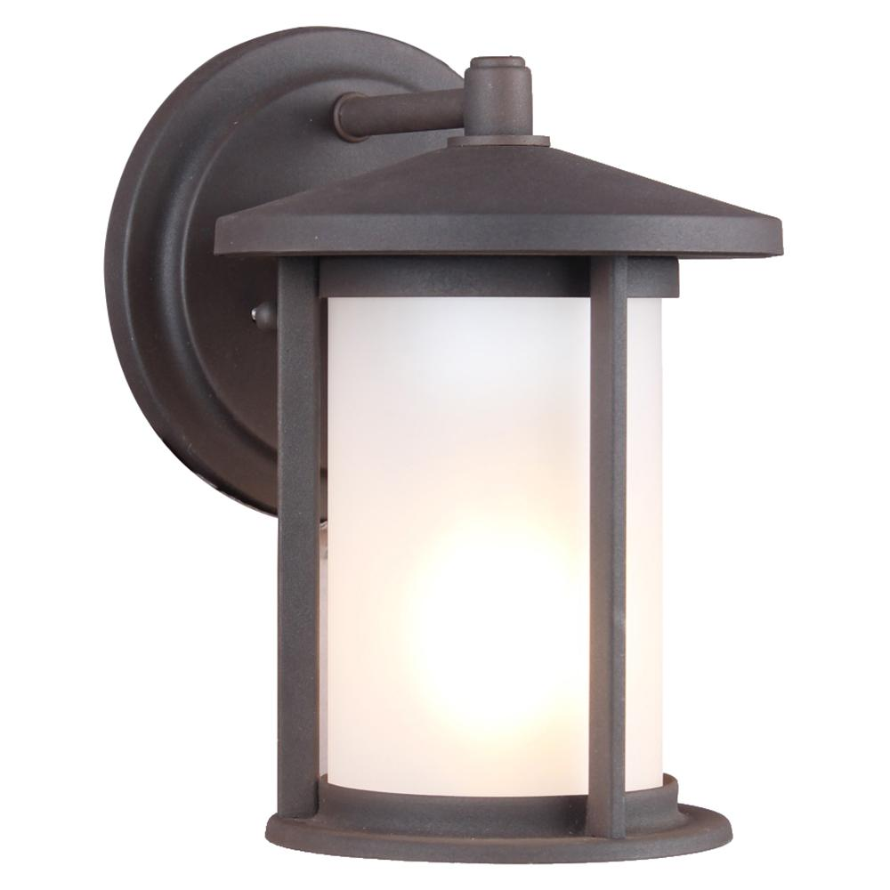 1-Light Weathered Bronze Frosted Glass Outdoor Wall Mount Sconce