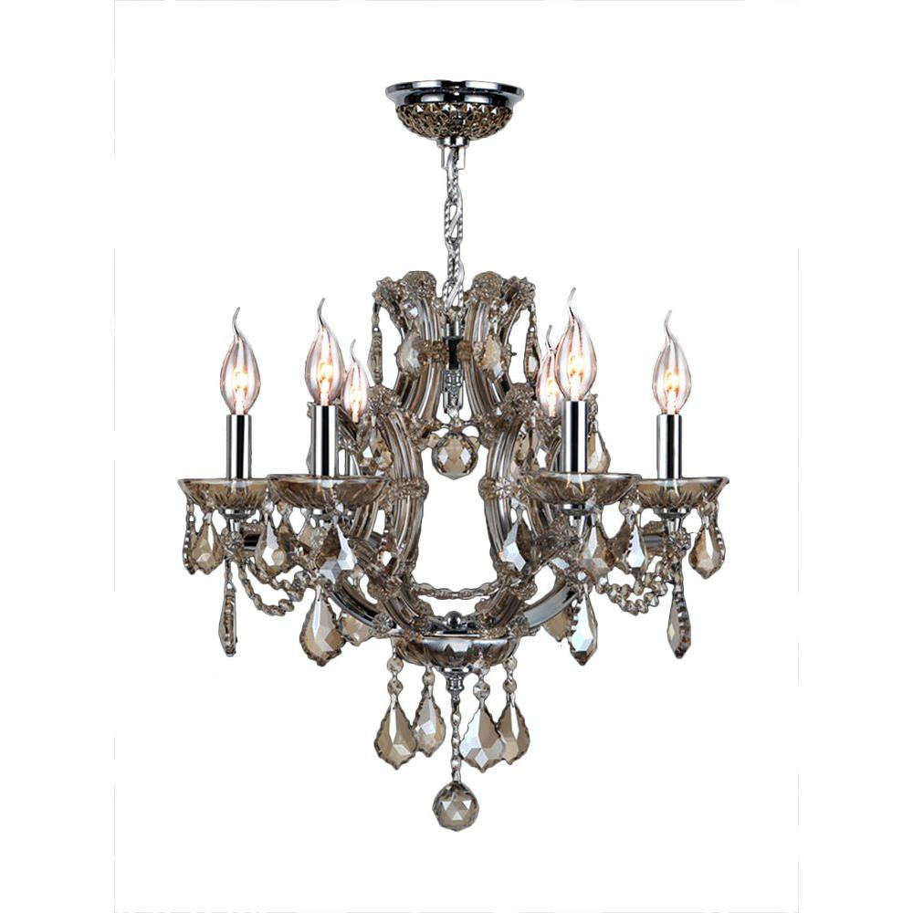 Lyre Collection 6-Light Polished Chrome and Golden Teak Crystal Chandelier