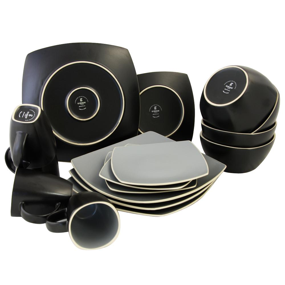 GIBSON HOME Soho Lounge 16-Piece Grayand Black Matte Dinnerware Set  sc 1 st  Home Depot & GIBSON HOME Soho Lounge 16-Piece Grayand Black Matte Dinnerware Set ...