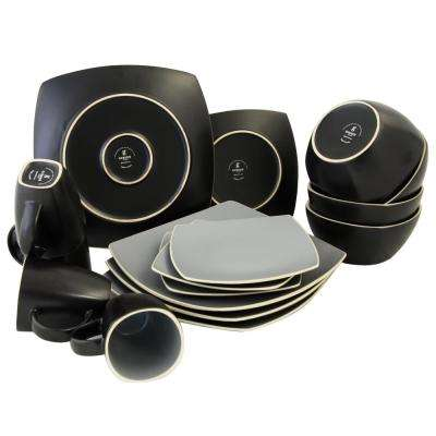 Soho Lounge 16-Piece Grayand Black Matte Dinnerware Set