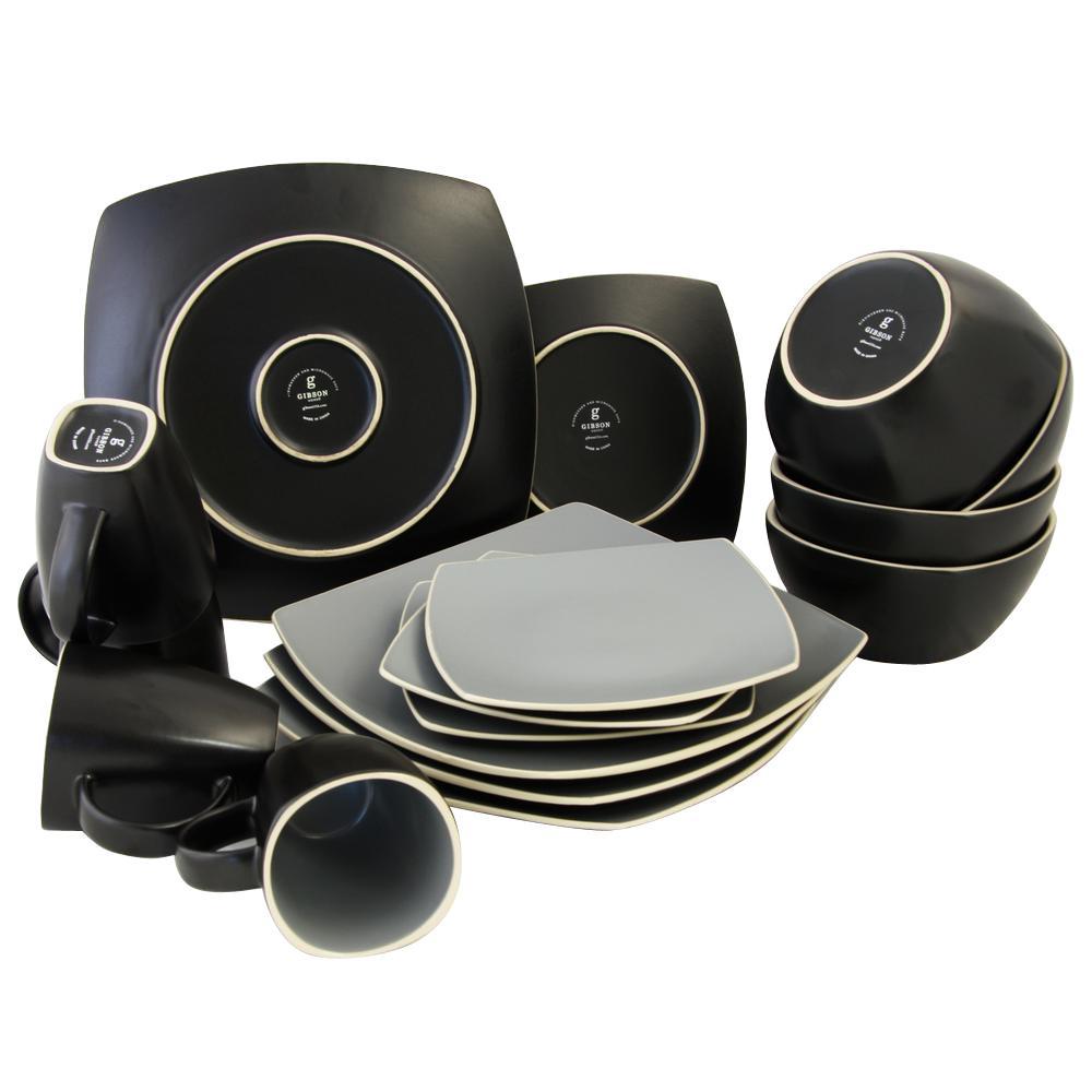 Soho Lounge 16-Piece Grayand Black Matte Dinnerware Set