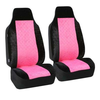 Velour 47 in. x 1 in. x 23 in. Heart Patterned Half Set Front Seat Covers