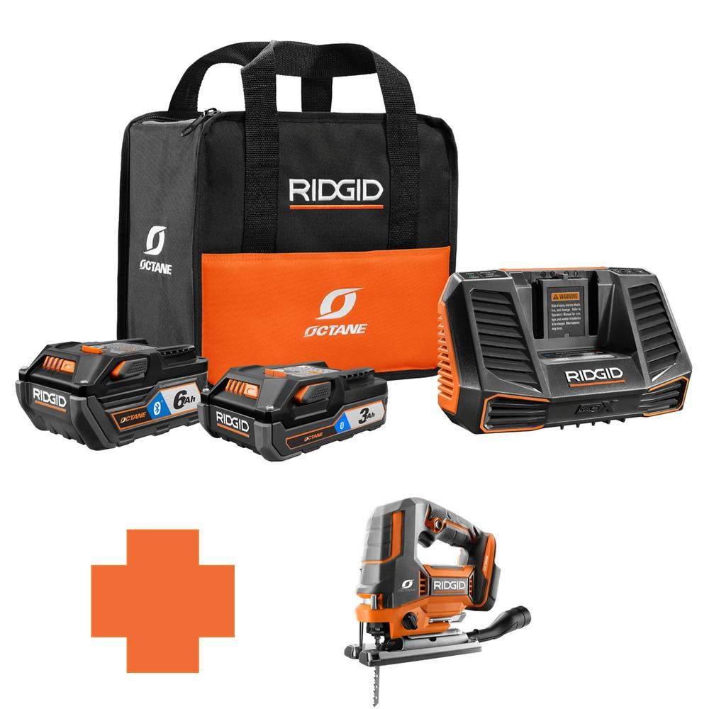 RIDGID 18-Volt OCTANE Battery and Charger Kit w/(1) 3.0 Ah, (1) 6.0 Ah Battery and Charger w/Bonus Brushless Jig Saw