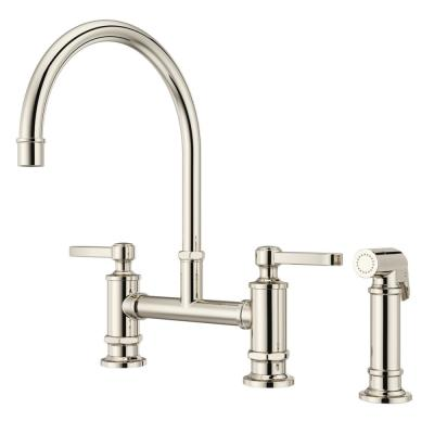 Port Haven 2-Handle Bridge Kitchen Faucet in Polished Nickel with Optional Side Sprayer