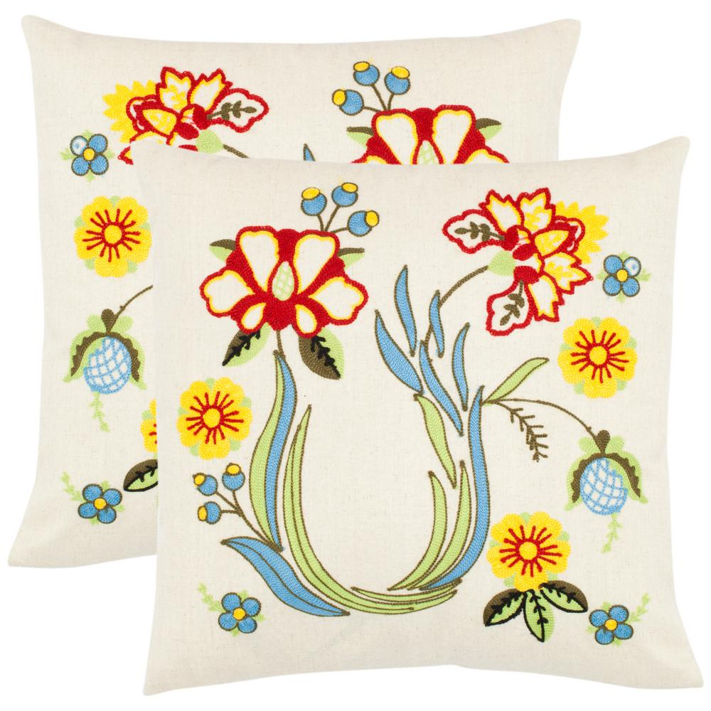 Safavieh Vesta Floral Embroidered Pillow (2-Pack), Ivory/...