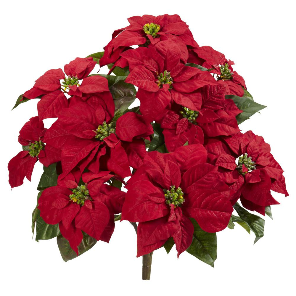 Nearly Natural Indoor 24 In Poinsettia Artificial Plant 2 Set