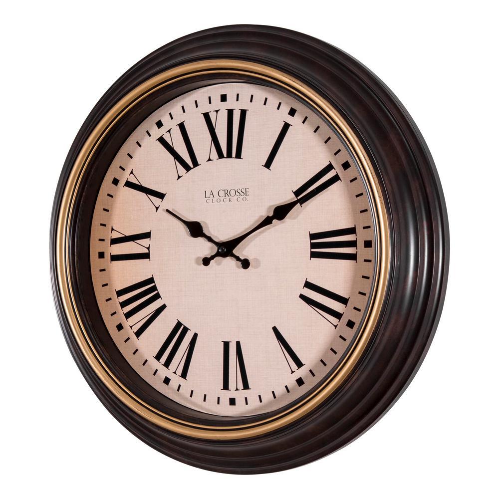 La Crosse Technology 18 In Round Antique Brown Quartz Wall Clock 404 3045bk The Home Depot