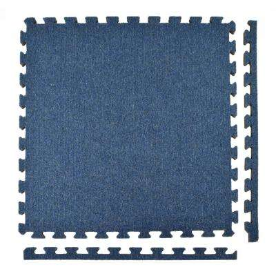 Royal Carpet Blue Velour Plush 2 ft. x 2 ft. x 5/8 in. Interlocking Carpet Tile 96.875 sq. ft. (25 Tiles/Case)