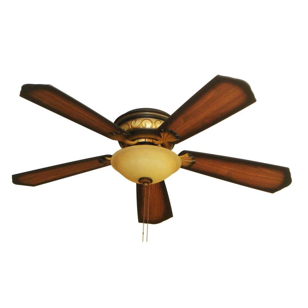 Hampton Bay Celestite 52 in. Aged Walnut Hugger Ceiling Fan with 5 Reversible Plywood Blades and Single Creme Cognac Glass