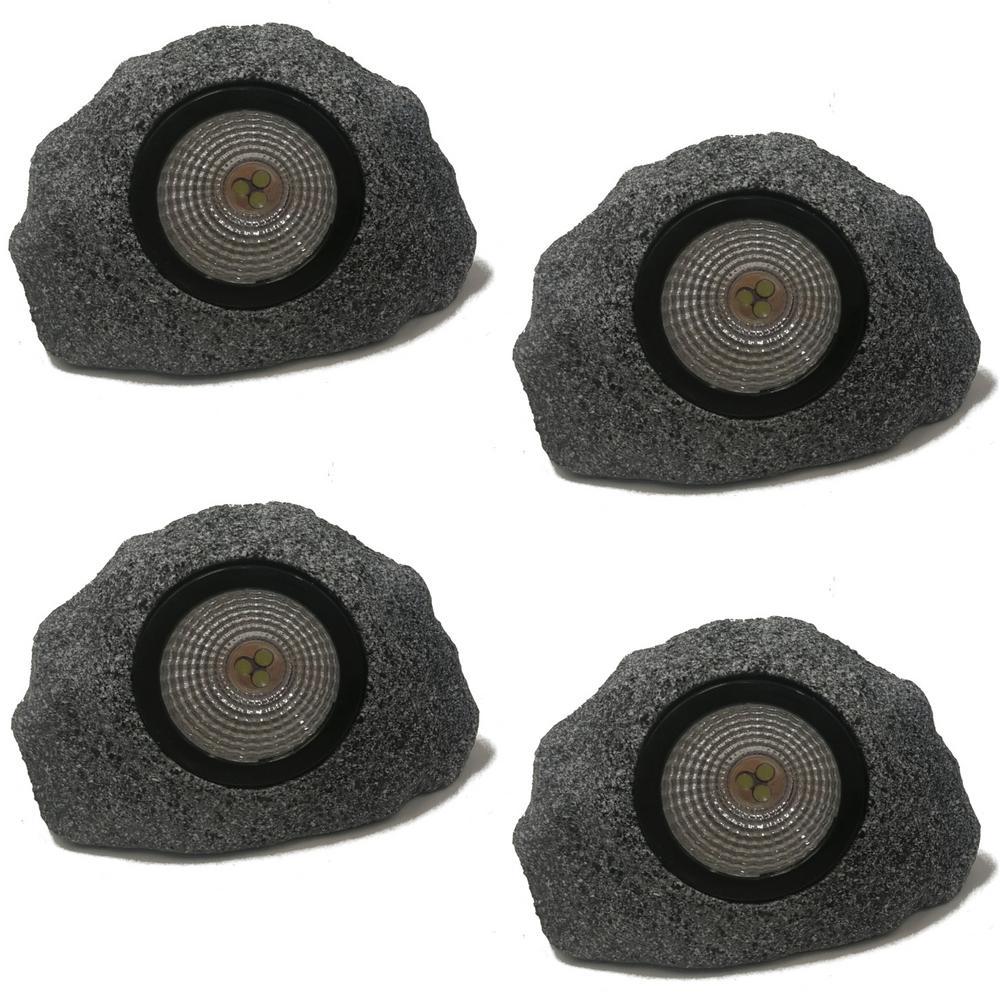 Solar 5 in. 10 Lumens Rock Spotlight in Gray (4-Pack)