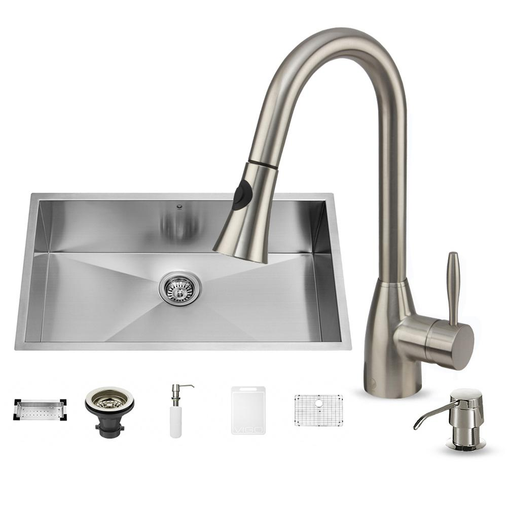 VIGO All-in-One Undermount Stainless Steel 32 in. Single Bowl Kitchen Sink in Stainless Steel with Faucet Set