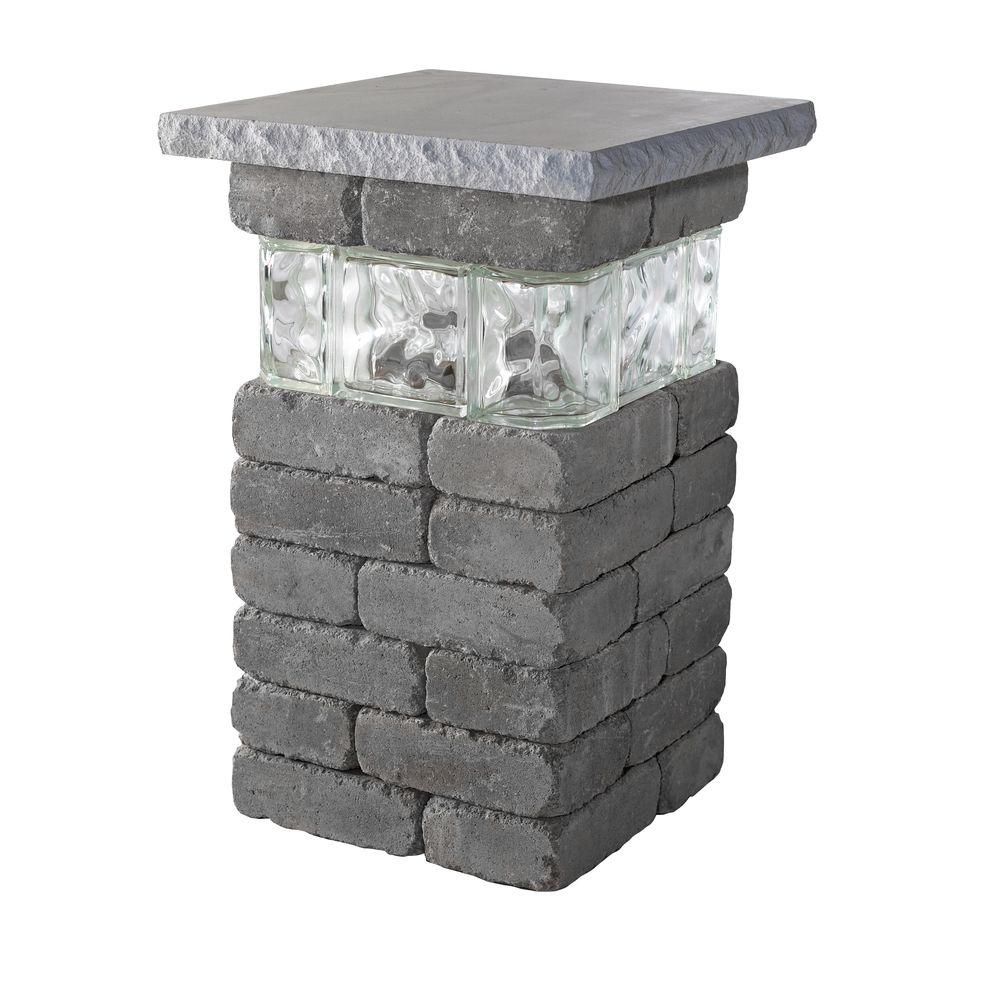 Necessories 20 in. Bluestone Lakeland Pillar with Glass-4201032 ... for Stone Pillar Lights  166kxo