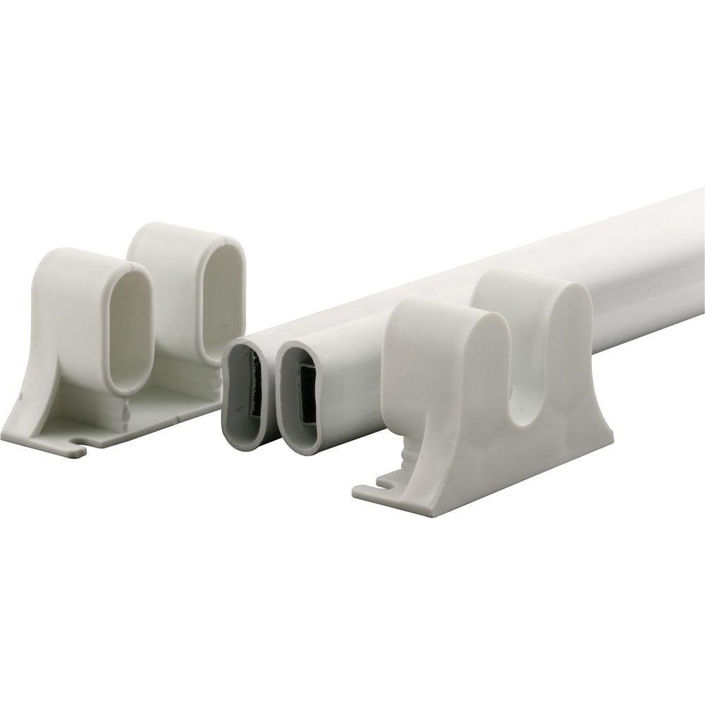 36 in. L Steel Reinforced White Vinyl Push Bar for Hinged Swinging Screen Doors