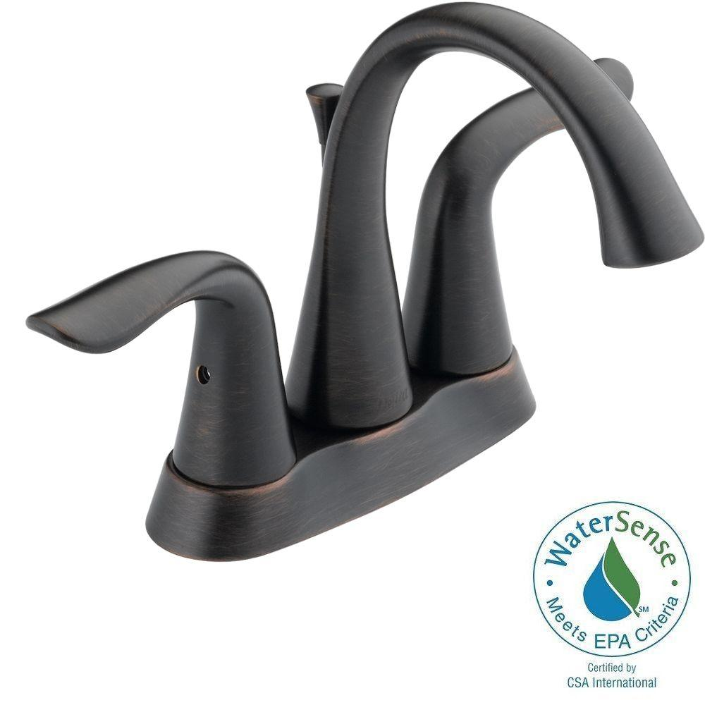 Delta Lahara 4 in. Centerset 2-Handle Bathroom Faucet in Venetian ...