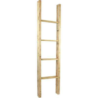 19 in. x 48 in. x 3 1/2 in. Barnwood Decor Collection Weathered Brown Vintage Farmhouse 3-Rung Ladder