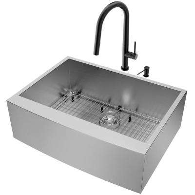All-in-One- Farmhouse Apron Front Stainless Steel 30 in. Single Bowl Kitchen Sink and Faucet Set in Matte Black