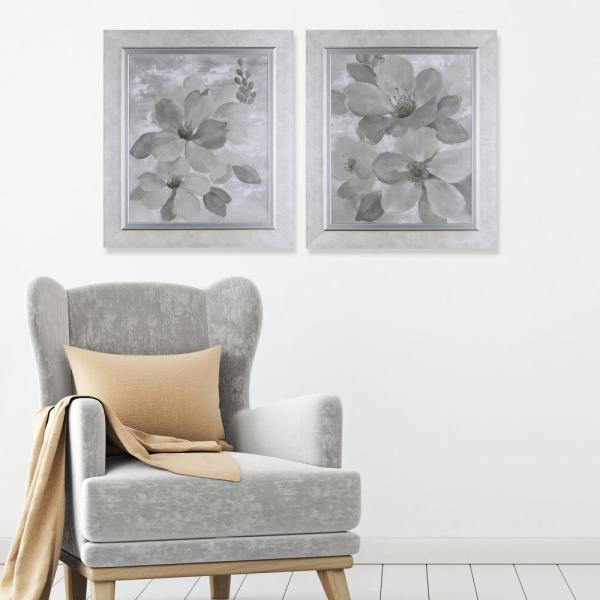 32.75 in. x 28.75 in. Neutral Floral II, Framed Printed Paper
