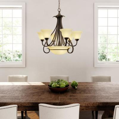 Torino 6-Light Forged Bronze Chandelier with Tea-Stained Glass Shade