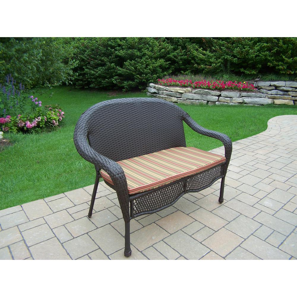 Elite Wicker Outdoor Loveseat with Green Stripe Cushion