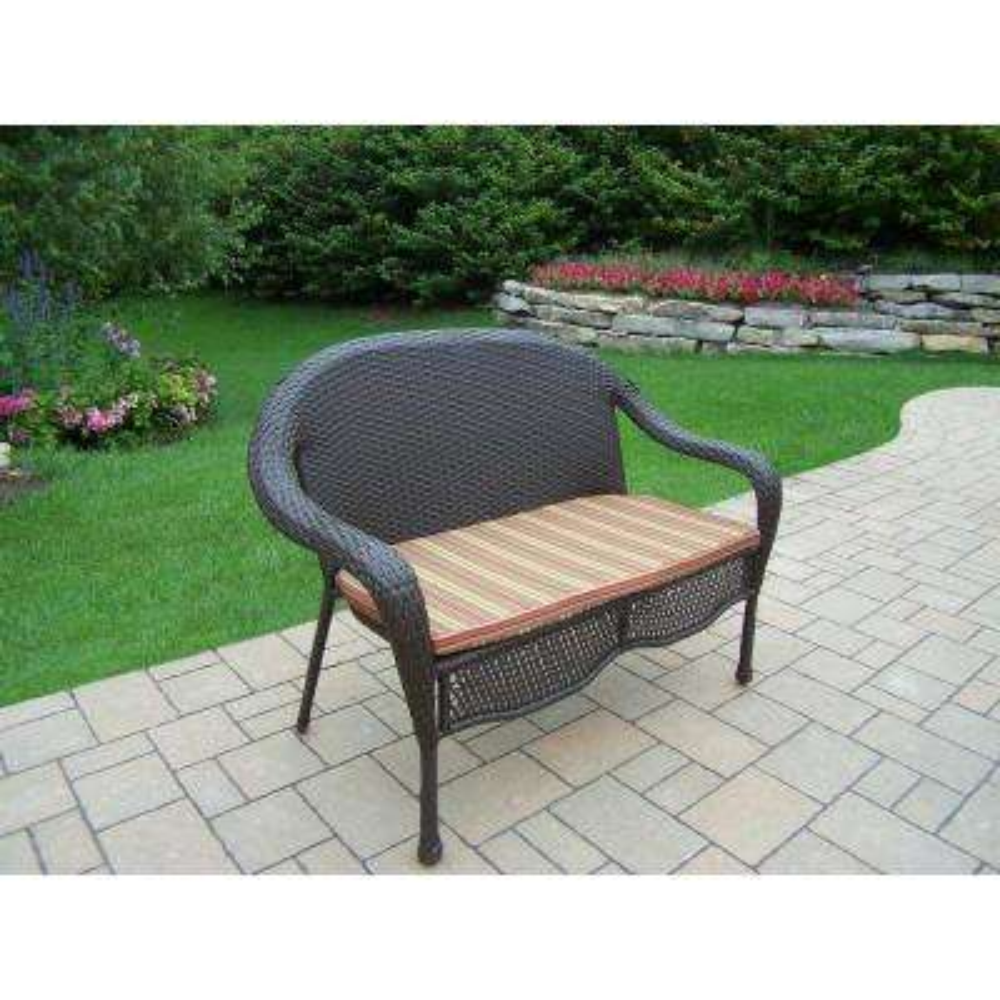Elite Wicker Outdoor Loveseat with Green Stripe Cushion