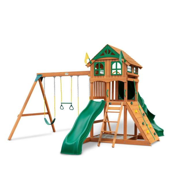 DIY Outing III Wooden Playset with Wood Roof, Tube Slide, and Rock Wall