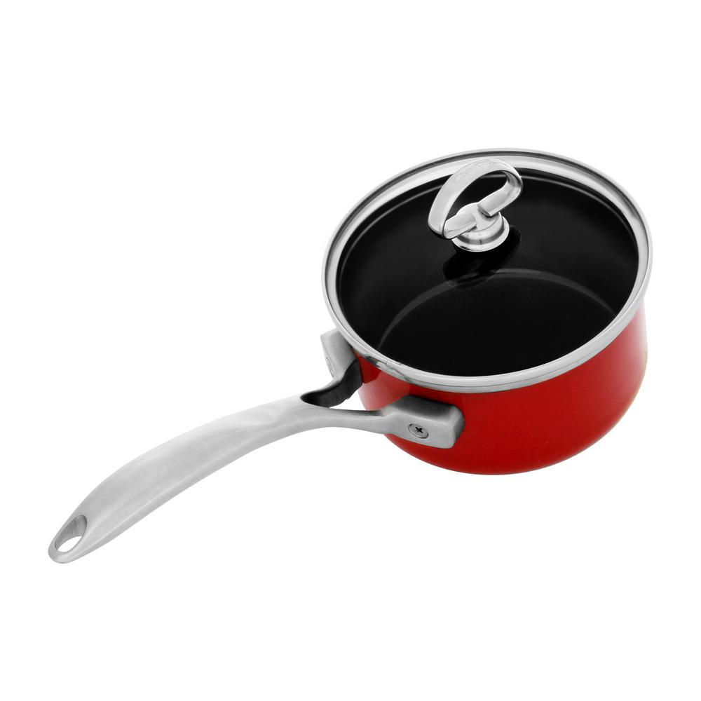 Copper Fusion 1 Qt. Saucepan with Glass Lid in Chili Red