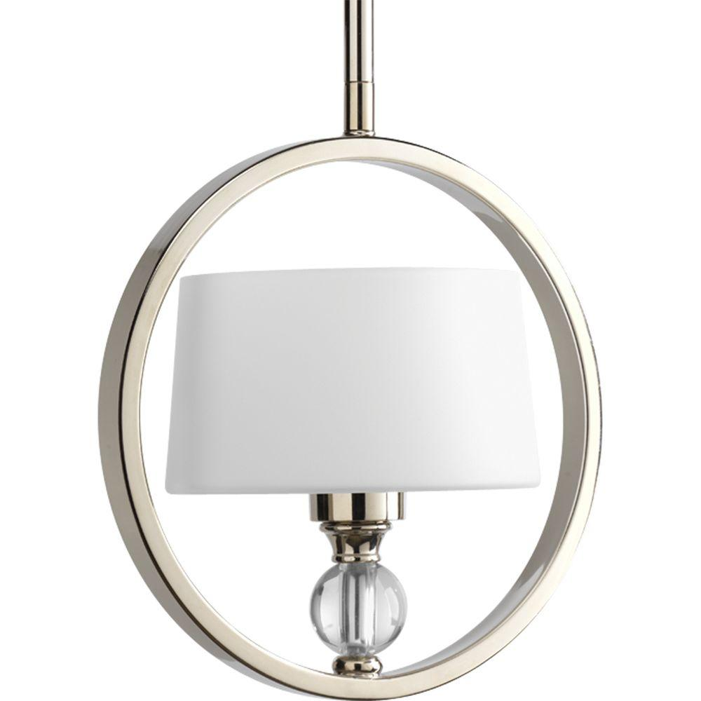 Fortune Collection 1-Light Polished Nickel Mini Pendant with Opal Etched Glass