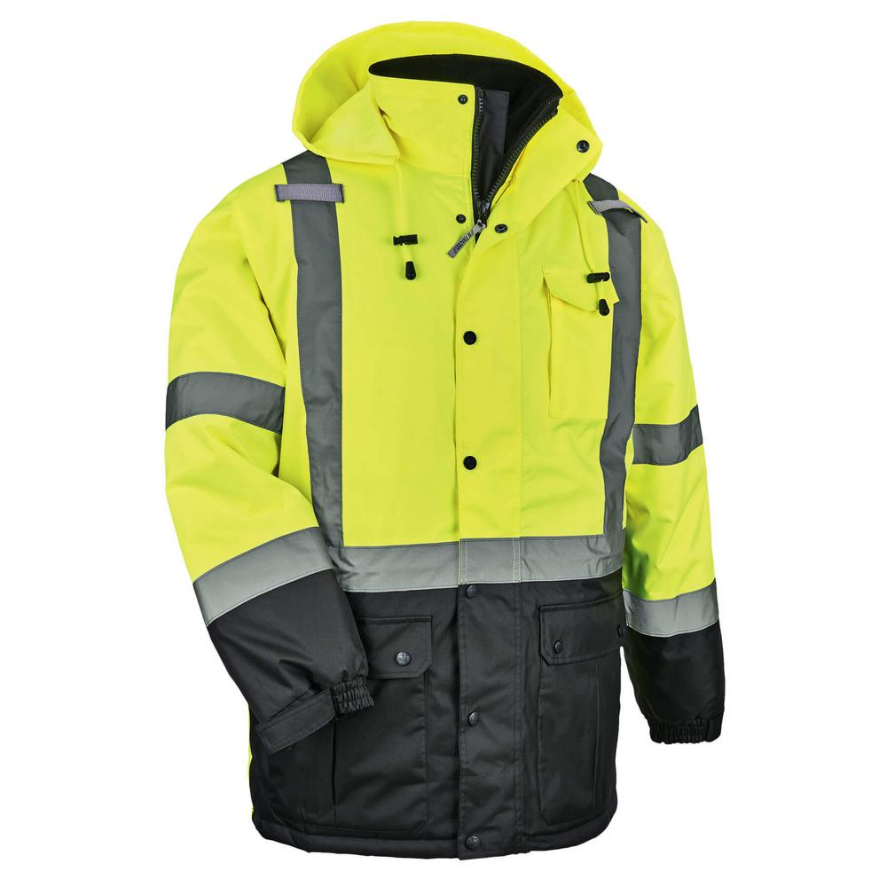Men's Large Lime High Visibility Reflective Thermal Parka
