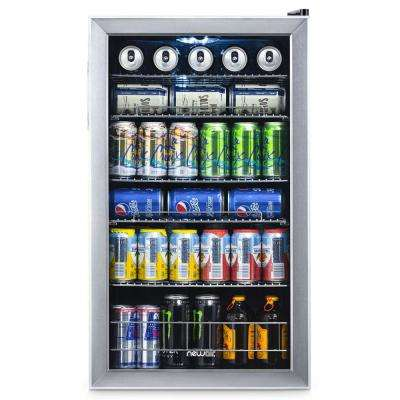 Premium 19 in. 126 (12 oz.) Can Under Counter and Countertop Freestanding Refrigerator Beverage Cooler - Stainless Steel