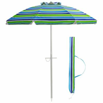 6.5 ft. Aluminum Beach Umbrella Sun Shade Tilt in Green/Blue Stripe