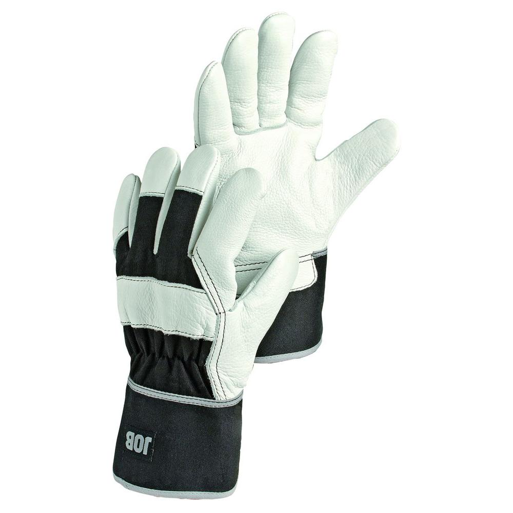 Hestra JOB Abisko Size 10 X-Large Cold Weather Insulated Cowhide Glove in White and Black