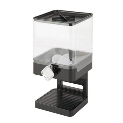 Cereal Dispenser with Portion Control, Black/Chrome