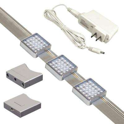 orionis 3 ft brushed aluminum track kit with 3 slidable led track modules and built