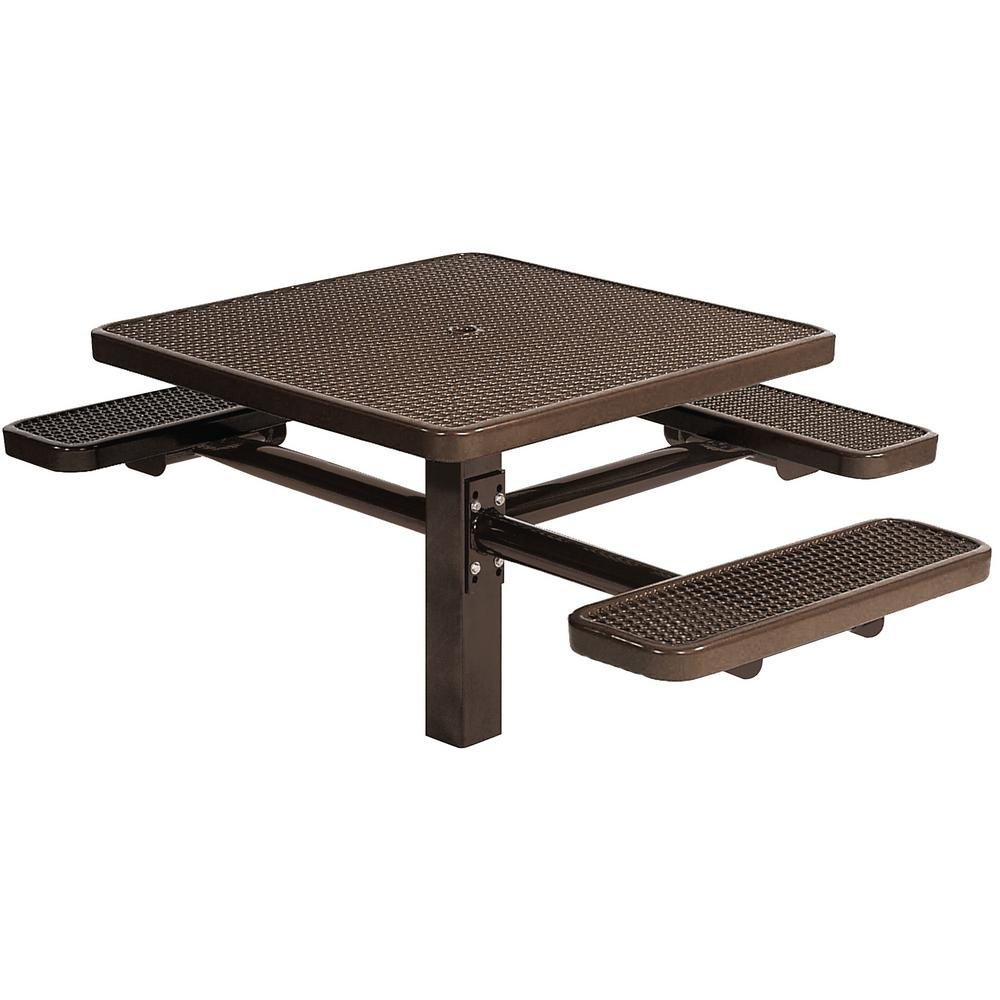 Park 46 In. Brown Commercial Square Picnic Table With 3 Seats