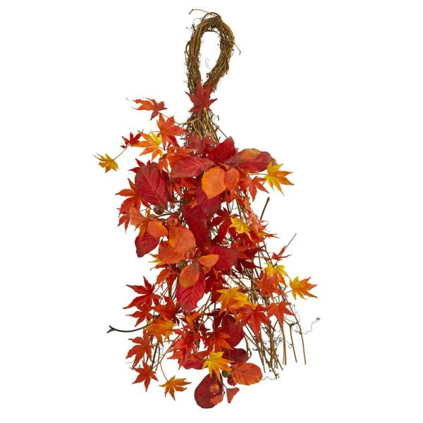 26 in. Mixed Japanese Maple, Magnolia Leaf and Berries Indoor Artificial Teardrop