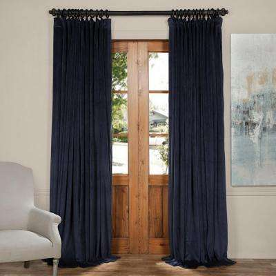 blackout signature midnight blue doublewide blackout velvet curtain 100 in w x 120 in - Blue Curtains For Living Room