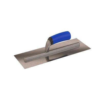 14 in. x 5 in. Long Shank Square End Finishing Trowel with Comfort Grip Handle