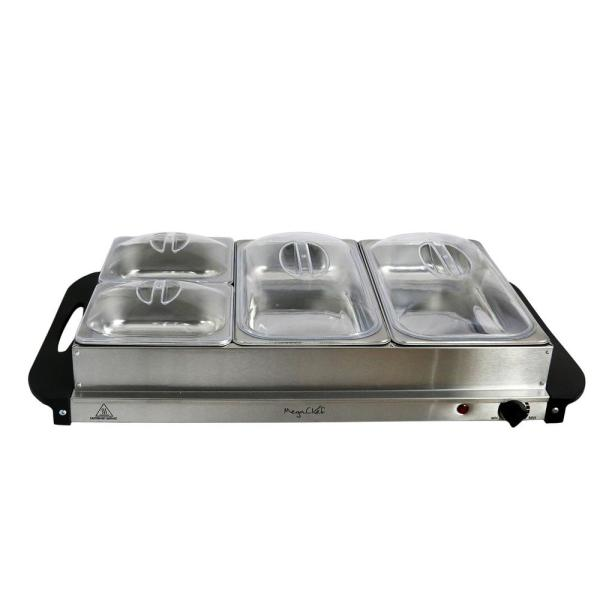 Pleasing Megachef 2 5 L Stainless Steel Warming Tray With 4 Crocks Interior Design Ideas Clesiryabchikinfo