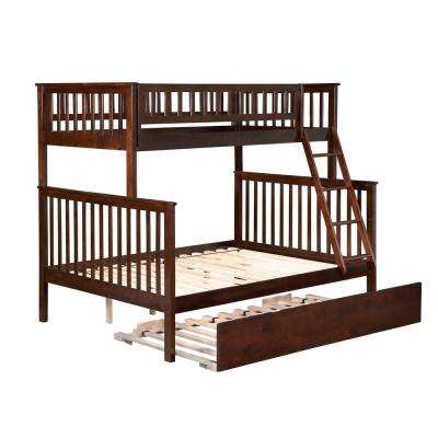 Woodland Walnut Bunk Bed Twin Over Full with Twin Size Urban Trundle Bed