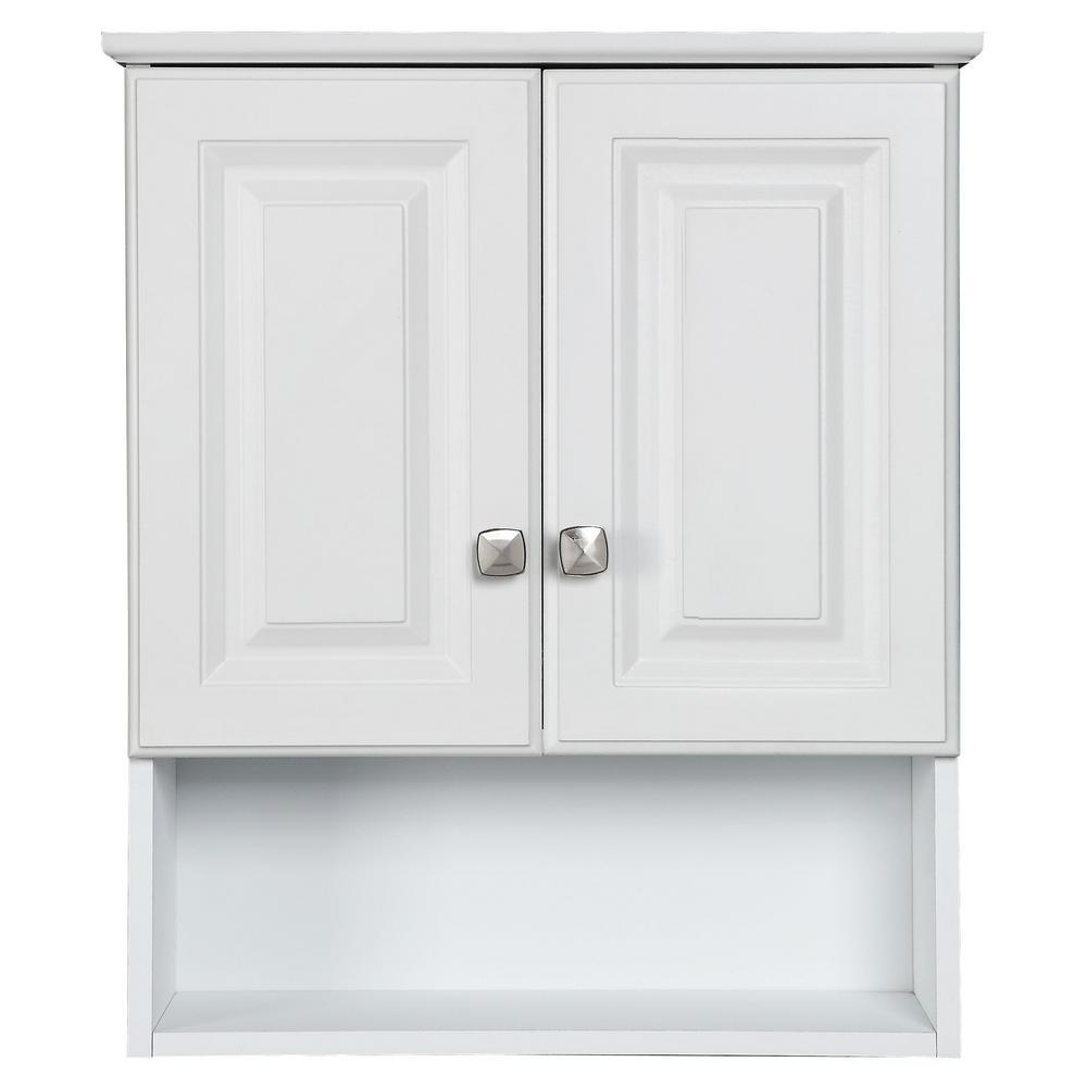 Design House Wyndham 22 in. W x 26 in. H x 8 in. D Bathroom Storage Wall Cabinet with Shelf in White Semi-Gloss