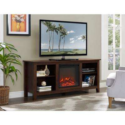 58 in. Wood Fireplace Media TV Stand Console - Traditional Brown