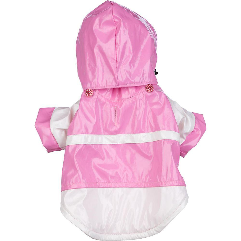 PET LIFE X-Small Pink and White Two-Tone PVC Raincoat