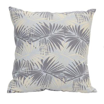 Victoria Gray Floral 18 in. x 5.5 in. Cotton Throw Pillow