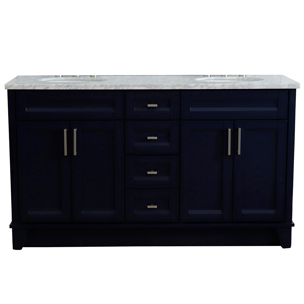 Bellaterra Home 61 in. W x 22 in. D Double Bath Vanity in Blue with Marble Vanity Top in White Carrara with White Oval Basins