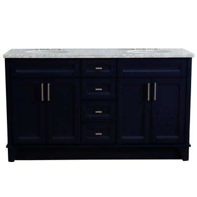 61 in. W x 22 in. D Double Bath Vanity in Blue with Marble Vanity Top in White Carrara with White Oval Basins