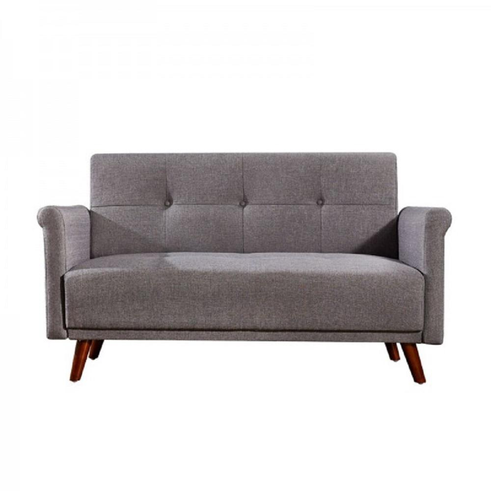 Engle Light Grey 3-Button Tufted Modern Loveseat with Dark Brown Wood Legs