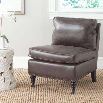 Randy Antique Brown Bicast Leather Slipper Chair