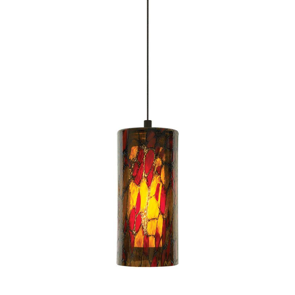 Abbey 1-Light Amber-Red Bronze Hanging Mini Pendant