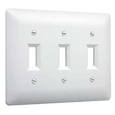 3-Gang 3-Toggle Plastic Wall Plate - White Textured (10-Pack)