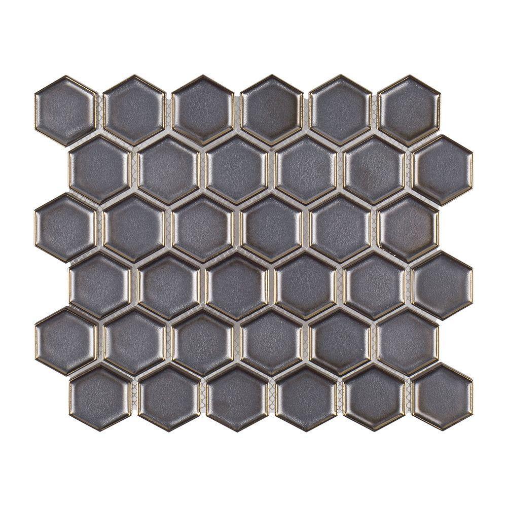 Moonrock 9.875 in. x 11.5 in. x 8mm Porcelain Mosaic Tile